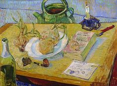 Stilleven rond een bord met uien Still life with a plate of onions Early January 1889 Vincent van Gogh (1853 - 1890) oil on canvas