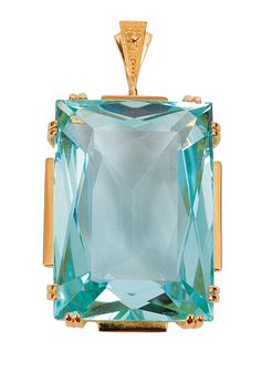 A fine aquamarin pendant    C. 1930/40. 14 ct. white gold, with yellow gold gilded. A large, faceted cut aquamarin of c. 45 ct. (27 x 19 x 11,9 mm). Expertise of the Gemmologischen Institut Hamburg with replacement value of c. 7.800 Euro. 39 x 21 mm with lug, weight c. 15 g..