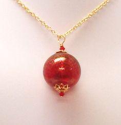 Large Red Globe Necklace by SunsetJewelsCo on Etsy