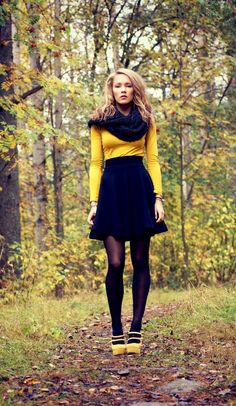 Bright yellow shirt. a high waisted A-line and an Infinity scarf. Ooh.