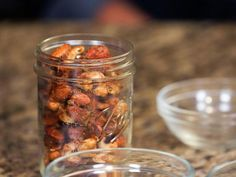 Eddie Jackson's Housemade BBQ Nuts recipe from Eddie Jackson via Food Network Nut Recipes, Cooking Recipes, Chef Recipes, Grilling Recipes, Snack Recipes, Picnic Side Dishes, Bbq Baby Back Ribs, Roasted Tomatillo, Cookout Food