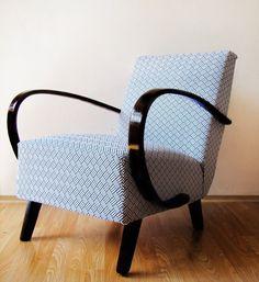 Křeslo od J. Halabaly léta v potahovce od Michael Miller Art Deco Chair, Decoration, Bassinet, Armchair, Michael Miller, Living Room, Interior Design, Retro, House