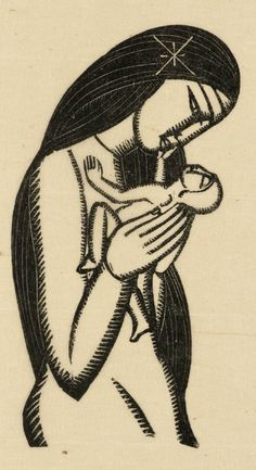 Eric Gill (1882-1940), 1925, Madonna and Child,  Wood engraving on paper.