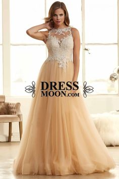 2015 Scoop A-Line Tulle Prom Gown With Beads And Applique