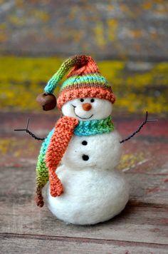 Snowman  Wool Needle Felted Snowmen  winter by BearCreekDesign, $50.00
