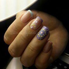 Идеи летнего французского маникюра, Идеи точечного маникюра, Идеи цветного френча, Маникюр август 2016, Маникюр для лета, Модный дизайн ногтей, Модный французский маникюр, Модный френч