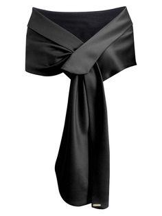 Elegant Fashion Women's Satin Shawl Wrap For Evening/Wedding Party Black Gift US Evening Shawls And Wraps, Satin Noir, Bridal Shawl, Lightweight Scarf, Long Scarf, Scarf Styles, Black Satin, Women's Fashion Dresses, Evening Gowns