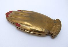 Vintage Schiaparelli Style Volupte Gilt Compact from Tony Durante