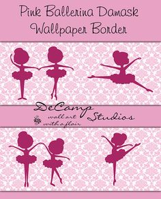 Pink Ballerina Damask Silhouette wallpaper border wall decals for baby girl ballet nursery or children's dance room decor #decampstudios