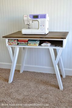 with open front storage cubby Make your own Farmhouse Modern Desk.with an open front storage cubby! --- Make It and Love ItMake your own Farmhouse Modern Desk.with an open front storage cubby! Sewing Desk, Diy Sewing Table, Diy Table, Sewing Spaces, Farmhouse Desk, Farmhouse Furniture, Farmhouse Front, Farmhouse Style, Farmhouse Plans