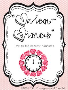 "Valen ""times"" math freebie- time to the nearest five minutes"