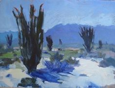 "Ocotillo in Bloom, Coyote Canyon by Catherine Grawin Oil ~ 12"" x 16"""