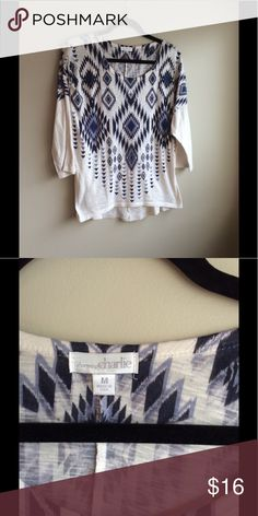 Aztec design top Gorgeous 3/4 sleeve, flowy  blue Aztec design top! Size medium - worn a handful of times Charming Charlie Tops