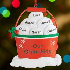 Need a unique gift? Send Snowball Fight in a Bucket Family Ornament and other personalized gifts at Personal Creations. Ceramic Christmas Decorations, Family Christmas Ornaments, Family Ornament, Xmas Ornaments, Xmas Decorations, Handmade Christmas, Christmas Fun, Dough Ornaments, Polymer Clay Ornaments