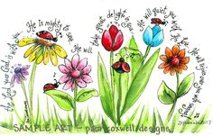Ladybug Parade Print (Zephaniah - great art project idea, but can use different flowers & verses.maybe a tree or two? Scripture Art, Bible Art, Bible Scriptures, Bible Quotes, Zephaniah 3 17, Bibel Journal, Art Plastique, Word Of God, Christian Quotes