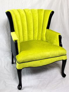 SOLD- CAN REPLICATE Vintage Channel Chair Wing Back Chair with Lime Green Jewel Tone Velvet and Charcoal Velvet