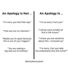 "An apology is not . ""I'm sorry you feel that way."" An apology is not . I'm sorry you're feeling upset. An apology is . Sorry For Hurting You, Sorry I Hurt You, Im Not Sorry, Im Sorry Quotes, Apologies Quotes, Apologizing Quotes, You Poem, Relationship Coach, How To Apologize"