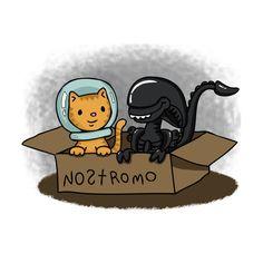 Kitten and Alien in a Box on TeePublic!