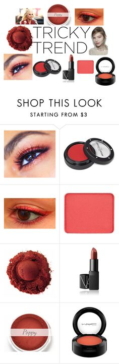 """red eyeshadow"" by krystal-sparkle ❤ liked on Polyvore featuring Belleza, Manic Panic, shu uemura, NARS Cosmetics y MAC Cosmetics"
