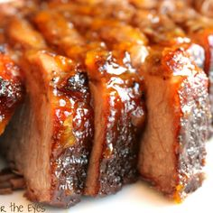 This is the perfect sweet and savory braised #brisket with bourbon #peach glaze!