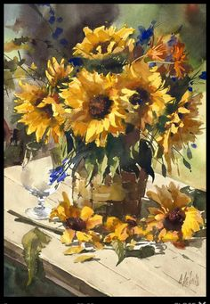 Oil Painting Tips Watercolor Sunflower, Sunflower Art, Watercolor Rose, Watercolour Painting, Painting & Drawing, Drawing Artist, Painting Videos, Painting Tips, Sunflower Paintings