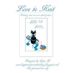 New Love to Knit mini Cat cross stitch pattern