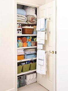 WILL do this with small linen closet! WILL do this with small linen closet! WILL do this with small linen closet! Linen Closet Organization, Life Organization, Closet Storage, Organizing Ideas, Organising, Organizing Bathroom Closet, Attic Storage, Organized Linen Closets, Garage Storage