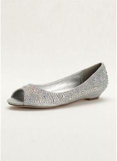701574f62b6 Low Wedge Peep Toe with AB Crystals AJUSTIN10 Bridesmaids Heels