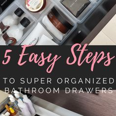 To have super organized bathroom drawers can be much easier than you think! Check out these 5 easy steps to organize your bathroom drawers once and for all. Bathroom Drawer Organization, Organized Bathroom, Bathroom Drawers, Soap, Simple, Tips, Easy, Bar Soap, Soaps