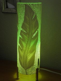 Table lamp. PVC pipe. Recycled. Feathers feathers... by GlowingArt