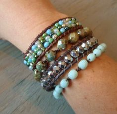 Bohemian beaded crochet bracelet