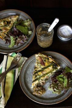 Grilled Asparagus, Andouille, Potato, and Leafy Greens Frittata with Mozzarella