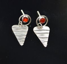 Carnelian Circle Earrings with a Triangle Drop by Degenhartdesigns, $30.00