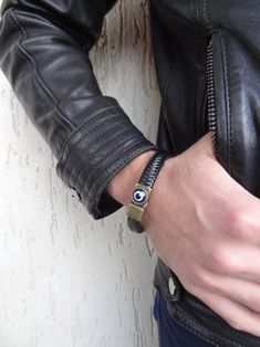 Men's Evil Eye Bracelet Black Thick Braided Leather with | Etsy Thick Leather, Braided Leather, Leather Cuffs, Leather Men, Thick Braid, Black Braids, Evil Eye Bracelet, Fathers Day Gifts, Gifts For Her