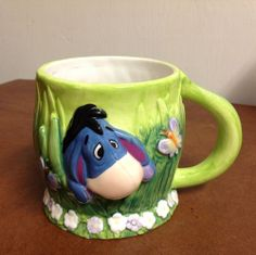 DISNEY AND WINNIE THE POOH CHARACTER EEYORE COFFEE MUG TEA CUP 3D RARE