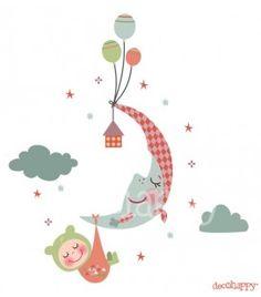Vinilo infantil bebe en la luna imagine