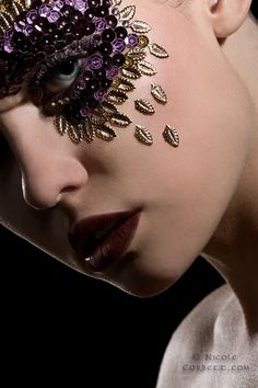 gorgeous purple eye makeup with gold diamonds and crystals http://arorabeauty.com