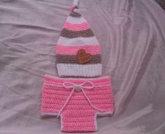Babyfotographie Set Mütze und Windelhose Herz rosa