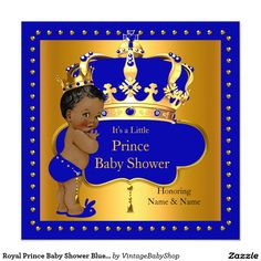 Royal Prince Baby Shower Blue Boy Crown Ethnic Invitation