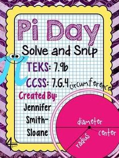 Pi Day (Circumference and Area of Circles) Solve and Snip- Interactive Problem Solving with Self Checking Answers