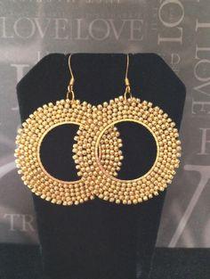 Bright Gold Beadwork Earrings Gold Seed Bead Hoop Earrings Handmade Beaded Gold Jewelry by WorkofHeart on Etsy https://www.etsy.com/listing/207937433/bright-gold-beadwork-earrings-gold-seed