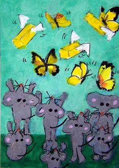 NFAC June ACEO Butterflies Butter-flies mice mouse Original Whimsical cartoon