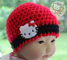 Baby Hat via Etsy. Crochet Baby Hats, Crochet Gifts, Baby Knitting, Knitted Hats, Crochet Things, Hello Kitty Baby, Hello Kitty Items, Baby Girl Hats, Girl With Hat