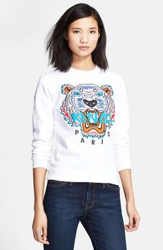 KENZO Embroidered Tiger Cotton Sweatshirt available at #Nordstrom