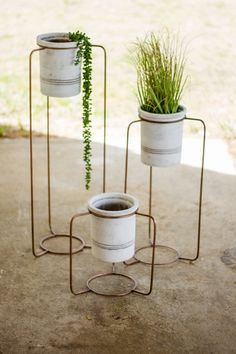 Copper Finish Metal Stands with White Wash Pots // Hudson and Vine