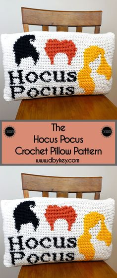 Spooky season is upon us -- the Hocus Pocus crochet pillow is the perfect way to add some flair to your decorating this holiday season. Bag Crochet, Crochet Fall, Holiday Crochet, Crochet Home, Crochet Crafts, Crochet Projects, Crochet Motif, Yarn Crafts, Crochet Ideas