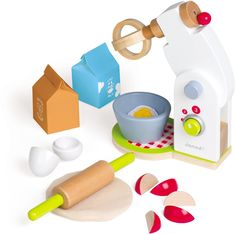 Janod Wooden Mixer: features on-off and speed buttons and a hinged arm to access the removable bowl. Wooden food accessories include eggs that crack open, fruit pieces, and pretend batter. Fun for the future chef!