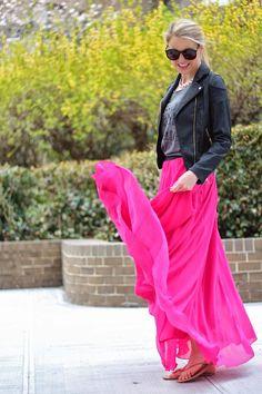 Modest Hot Pink Maxi Skirt