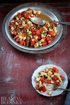Grilled Watermelon and Halloumi Salad - Beard + Bonnet