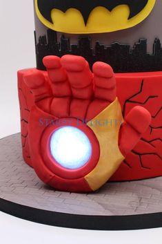 Superhero cake by starry delights cakes cakes торт, герои Marvel Cake, Superman Cakes, Avengers Birthday, Superhero Birthday Party, Lego Superhero Cake, Iron Man Hand, Iron Man Party, Ironman Cake, Avenger Cake